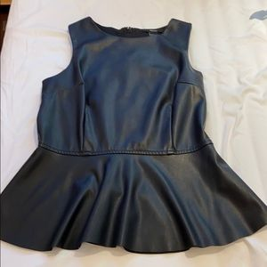 F21 - Faux Leather Peplum Blouse in Black